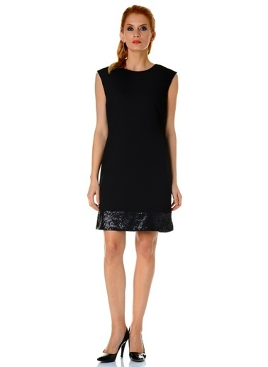 Asymmetry Kolsuz Payetli Elbise Siyah